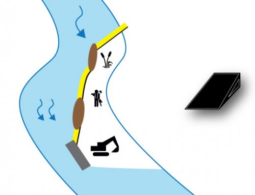 Caso 5 Ataguías entre el vertedero hidráulico, islotes y margen