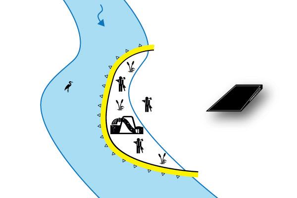 ataguía paralela al río