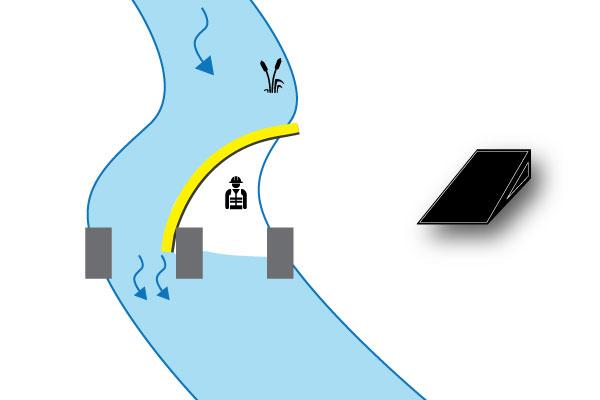 ataguía del río en el muelle del puente