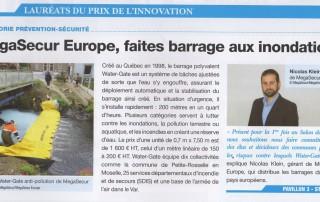 Article du journal du salon des maires sur les protection anti inondation water gate