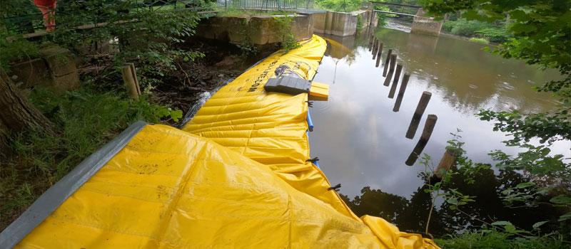 Desviación de un brazo fluvial mediante ataguía flexible Water-Gate © | Reparación del sistema de aventado Bruche en Mutzig