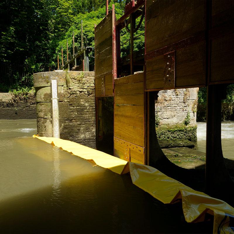 Restauración del aventado del Moulin de Pidou siglo XV | Rivière Aa - Cofferdam Water-Gate flexible © WA-2850