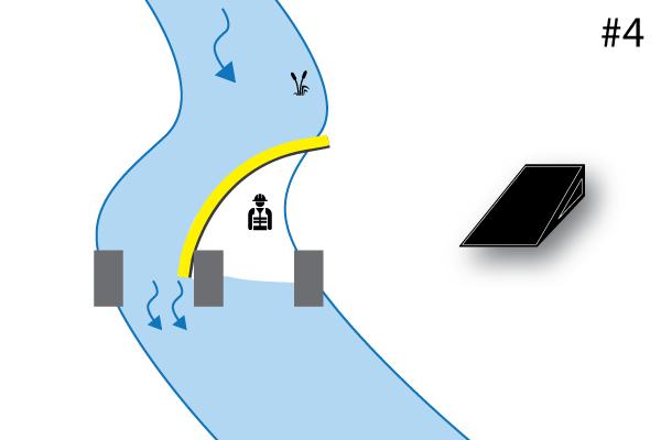 """"""" Ataguías flexibles Water-Gate ©. Esquema de una instalación en forma de L sostenida por un pilar de puente. Caso # 4"""""""