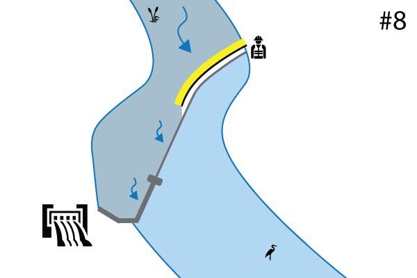 Ataguías flexibles Water-Gate©. Esquema de una instalación en el umbral de un río | Aliviadero. Caso # 7